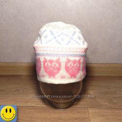 Новая шапка деми двойная вязка YD 2-7 лет. для девочки