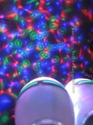 Лампа диско, разноцветная, вращающая,