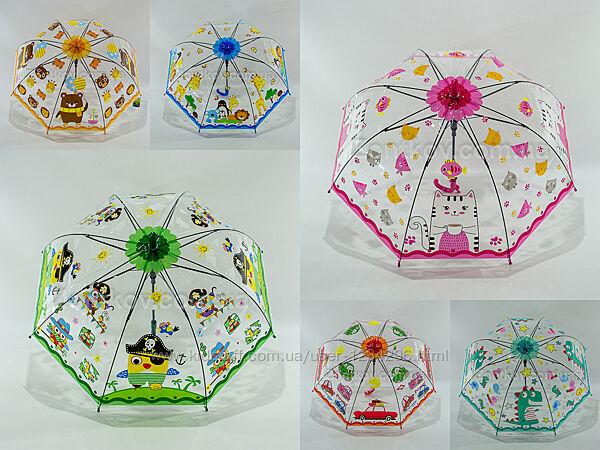 Прозрачный детский зонтик для маленьких деток на 3-6 лет 2011