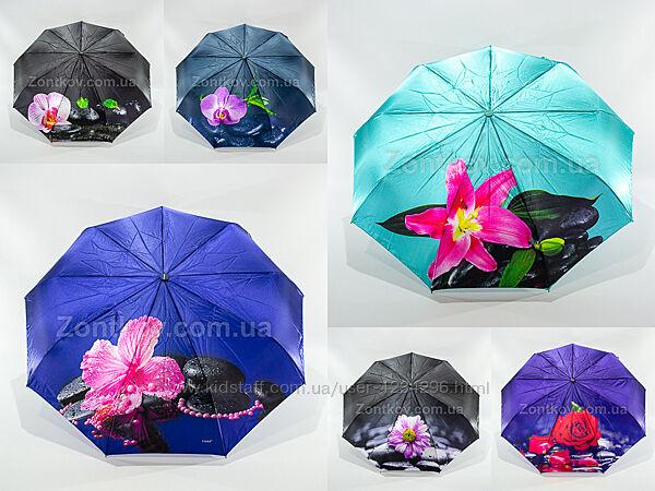 Женский зонтик полный автомат сатин цветок от фирмы Fiaba 721
