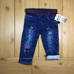 Детские утепленные джинсы на травке