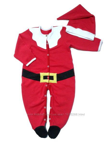 Новогодний человечек костюм Санта для малыша рр. 56-80