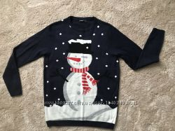 Нежный новогодний свитер снеговик