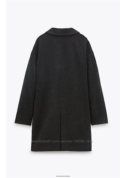 Шерстяное пальто в клетку zara xl
