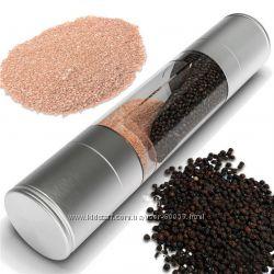 Мельница для специй соли перца 2 емкости нержавеющая сталь 2 в 1