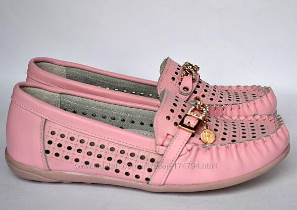 Кожаные туфли мокасины для девочек Calorie