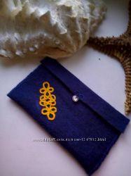Синий Чехол из фетра с декором Фриволите