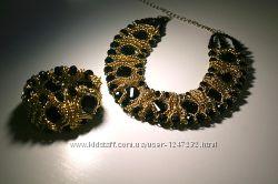 Набор колье и браслет , золотые цепочки и черный агат, в стиле Фюрстенберг