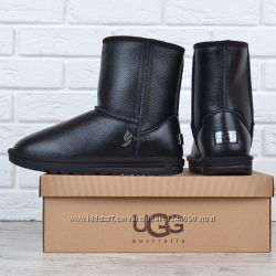 Угги мужские кожаные зимние сапоги UGG Australia черные