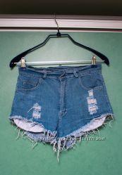 Шорты джинсовые рваные с завышенной талией