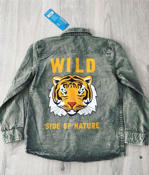 Рубашка с тигром Pepco хаки 6-7 лет 122 см