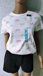 Женская хлопковая футболка в принт