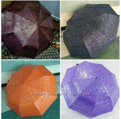 Зонт серебряная, золотая абстракция полуавтомат, антиветер. Женский зонт.