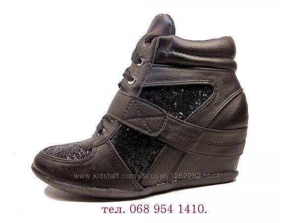 Ботинки-сникерсы женские демисезонные на шнурках и липучке. Размер 35-41.