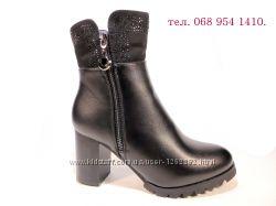 Ботинки-полусапожки, женские, зимние, на устойчивом каблуке. Размер 35-40.