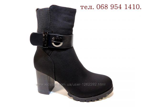 Ботинки-полусапожки, женские, зимние, замшевые, на каблуке. Размер 35-40.
