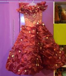 Платье нарядное праздничное для принсессы бордовое