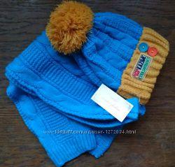 Вязаный зимний набор для мальчика комплект шапка шарф Качество