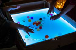 Акция Детский световой стол массив ольхи. Набор для игры с песком в подарок