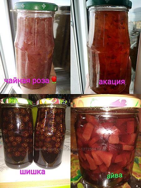 Варенье из шишки сосновый мед, акации, каштана, розы, вишни, черешни, перси