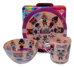 Стеклянный набор детской посуды   Куклы L. O. L.  ЛОЛ  - в наличии