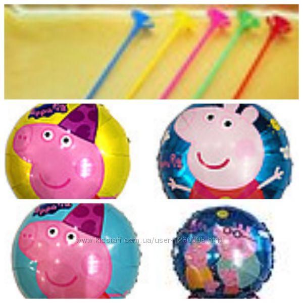 Фольгированные круглые шарики пеппа и минни