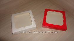 Коробка 15 на15 на 3 см с фигурным окном