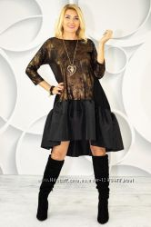 Шикарное, эффектное, нарядное праздничное платье с воланом и рукавом 34