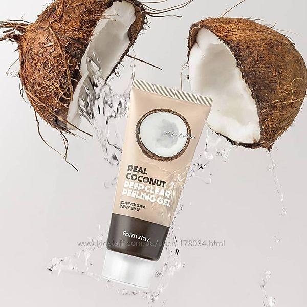 Пилинг-скатка для лица farm stay real coconut deep clear peeling gel