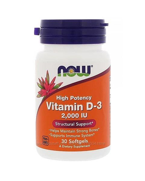 Витамін Д-3, Vitamin D-3, Now Foods, 2,000 МО, 30 гелевих капсул