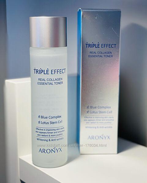 Тонет для лица aronyx triple effect real collagen essential toner