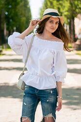 нарядная белая блуза на резинке с бантом на спинке Shein, размер S-M