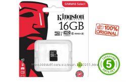 Карта памяти флешка MicroSD 16GB UHS-I Class 10 Kingston. 5лет гарантия
