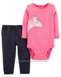 Carters Комплект 2-ка Боди штанишки для девочки 9мес 18мес