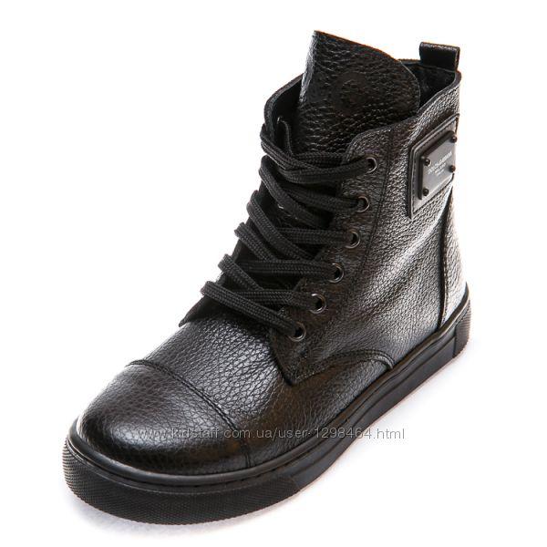 Кожаные ботинки для модников D&G Турция 107340 р. 26-36