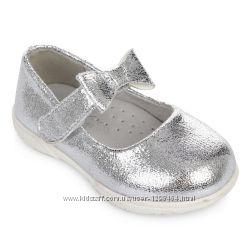 Серебристые туфельки с бантиком Lapsi 1801 р. 25-30