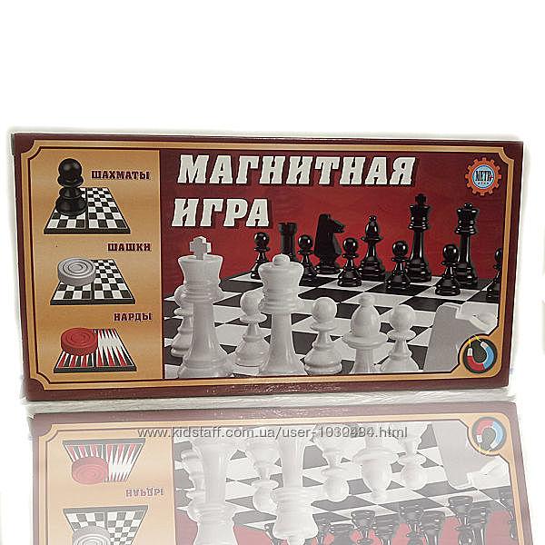 Магнитная игра 3 в 1 шахматы, шашки, нарды