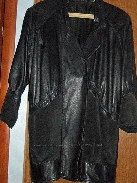 Фирменная демисезонная женская кожаная куртка 48/4XL/56