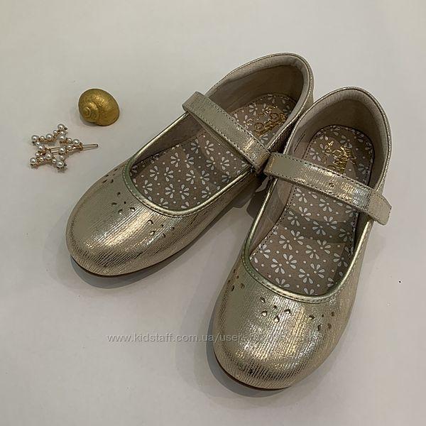 Нарядні золоті туфельки для дівчинки See Kai Run