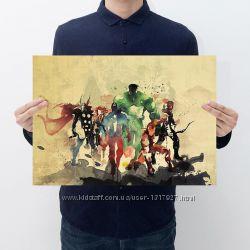 Постер плакат вселенная Марвел на крафтовой бумаге 50х35 см без рамы