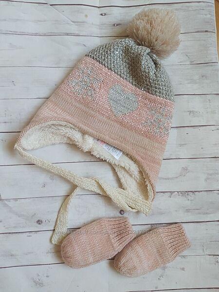 Шапка зимняя  перчатки комплект matalan