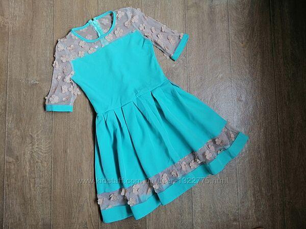 Нарядное платье для девочки подростка, ткань костюмка, Цвет бирюза, 140