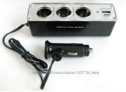 Разветвитель прикуривателя тройник WF-0096 с USB