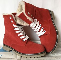 Женские зимние ботинки сапоги Timberland T69 Тимберланд натуральный нубук