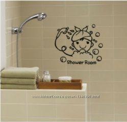 Интерьерные наклейки в ванную, туалет