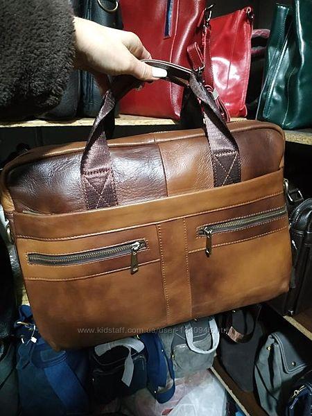 Кожаная мужская сумка, портфель для ноутбука