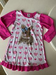 Ночная рубашка кролик, размер М, 7-8 лет, микрофлис, седце, домашнее платье