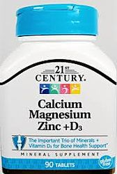 21st Century, Calcium Magnesium Zinc  D3, 90 Tablets