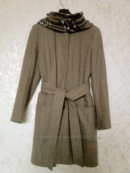 Шерстяное пальто ZARA с поясом, воротник стойка, в елочку