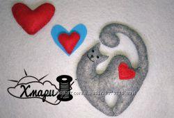 Влюбленный кот поделки игрушки из фетра hand made
